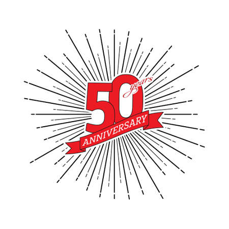 Congratulations on the 50 years anniversary. Editable vector illustration. The number 50 on the background of a salute with a congratulatory red ribbon