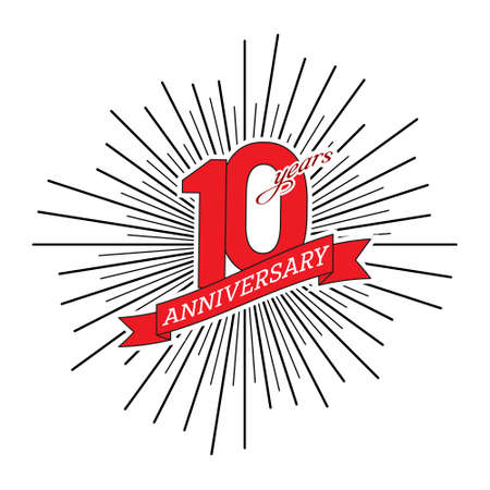 Congratulations on the tenth anniversary. Editable vector illustration. The number 10 on the background of a salute with a congratulatory red ribbon