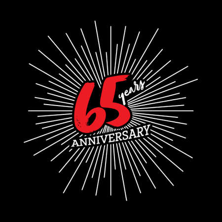 Congratulations on the 65 years anniversary. Editable vector illustration. Number 65 on the background of fireworks