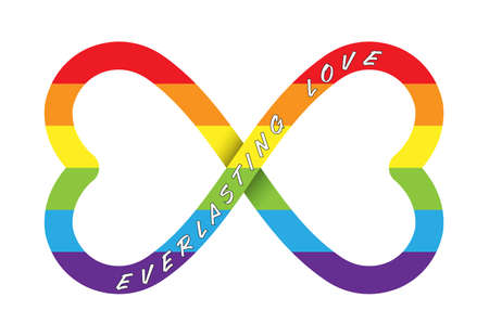 Conceptual vector illustration of everlasting love with an infinity sign in LGBT colors, isolated on a white background