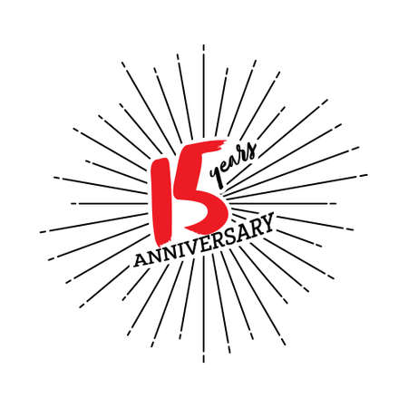 Congratulations on the 15 years anniversary. Editable vector illustration. Number 15 on the background of fireworks 矢量图像