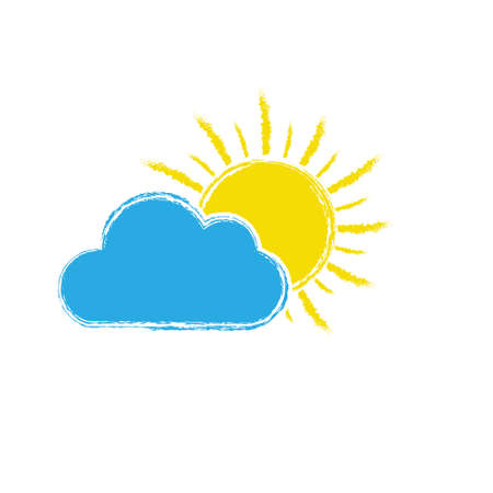 sun behind a cloud. Vector illustration for weather, nature, or children's theme design isolated on a white background