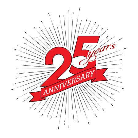 25th anniversary. Greeting inscription with salute and ribbon, vector illustration isolated on white background