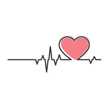 Heart and cardiogram pulse. Contour vector illustration isolated on a white background