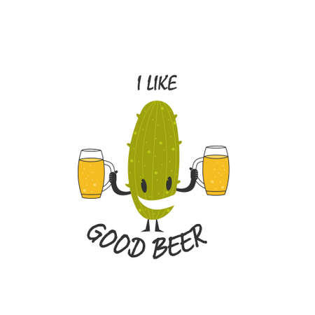 Cactus with glasses of beer and the inscription I LIKE GOOD BEER for stickers, banners, logos, stickers and theme design. Simple vector illustration isolated on a white background 向量圖像