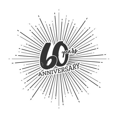 Congratulations on the 60 years anniversary. Editable vector illustration. Number 60 on the background of fireworks