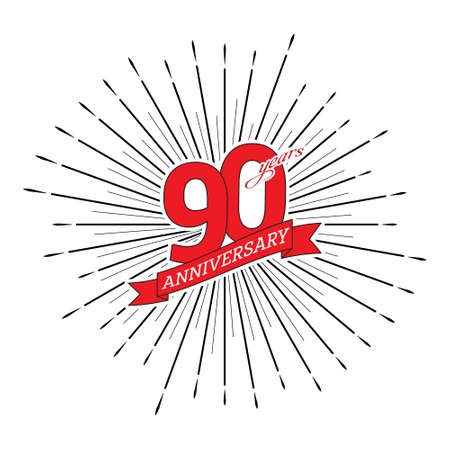 Congratulations on the 90 years anniversary. Editable vector illustration. The number 90 on the background of a salute with a congratulatory red ribbon
