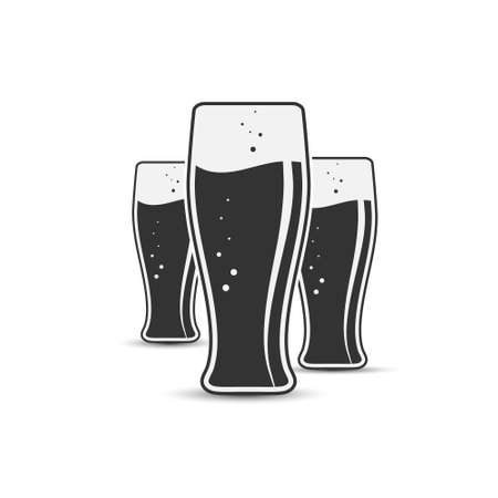 Three glasses of beer for stickers, banners, logos, stickers and theme design. Simple vector illustration isolated on a white background