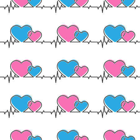 Seamless pattern of heart and cardiogram pulses for texture, textiles, simple backgrounds and packaging