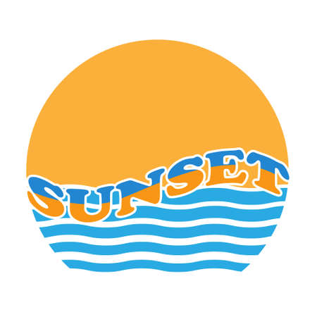 Stylized vector illustration of a sea sunset isolated on a white background