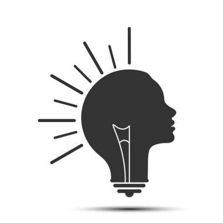 light bulb combined with the silhouette of a woman's head. Metaphor formation of an idea, thinking, creative person. Flat design