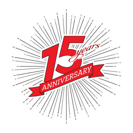 15th anniversary. Greeting inscription with salute and ribbon, vector illustration isolated on white background