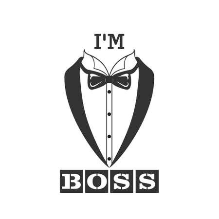Stylized inscription I am the BOSS and a tailcoat. Vector illustration for banners, clothing and theme design isolated on a white background