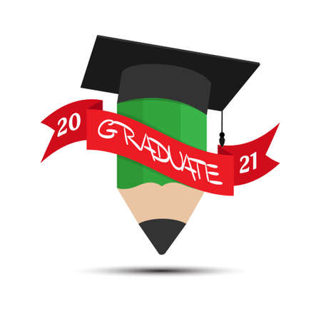 Pencil and hat of the graduate with a ribbon and the inscription graduate 2021. Illustration for logo, sticker and label. simple vector illustration isolated on a white background 向量圖像