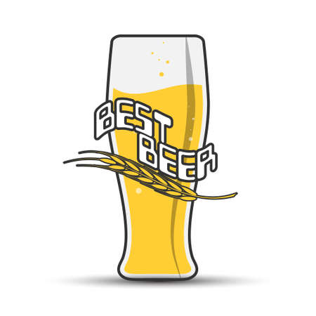 glass of beer with the inscription BEST BEER and a spike for stickers, banners, logos, stickers and theme design. Color simple vector illustration isolated on a white background