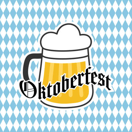 Oktoberfest beer mug for stickers, banners, logos, stickers and theme design. Color simple vector illustration 向量圖像