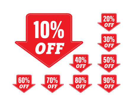 set of stickers with a percentage discount for stickers, labels and banners. simple vector illustration isolated on a white background