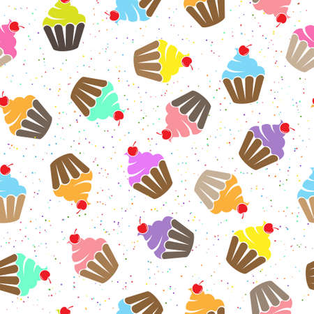 Stylized seamless pattern with muffin and cherry for texture, textiles, packaging and background 向量圖像