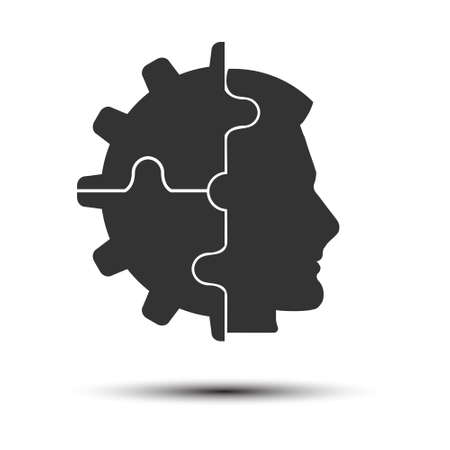 cog combined with the silhouette of a man's head. A metaphor for the realization of an idea, a thinking, creative person. Flat design