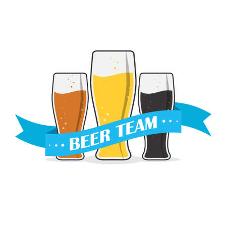 Three beer mugs with a ribbon and the words BEER TEAM for stickers, banners, logos, stickers and theme design. Color simple vector illustration isolated on a white background