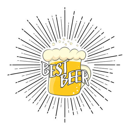 Beer mug with the inscription BEST BEER and salute for stickers, logos, stickers and theme design. Color simple vector illustration