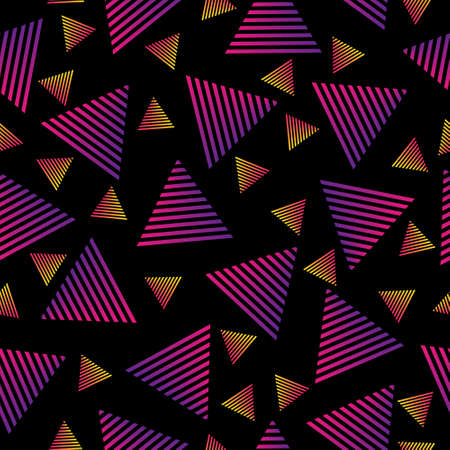 Seamless abstract pattern of gradient triangles on a dark background for textiles, packaging and decoration