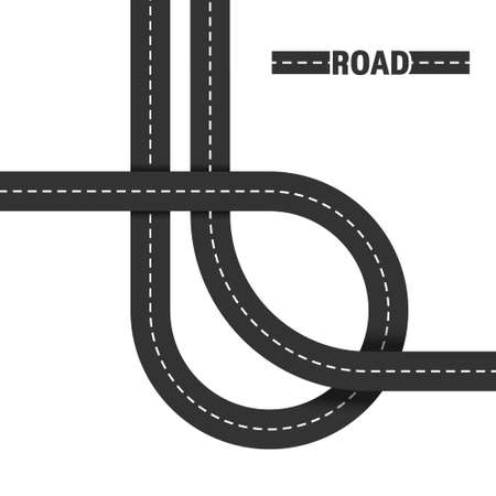 Road, road junction. Vector illustration isolated on white background