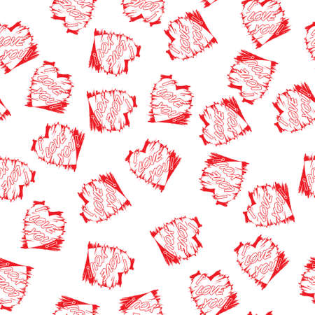Stylized seamless pattern with heart and I LOVE YOU lettering for texture, textiles, packaging and background