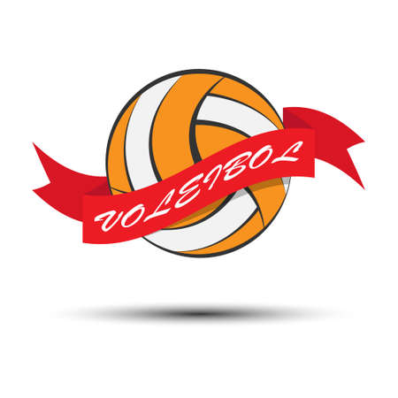 Volleyball ball with tape and lettering. Vector illustration for an icon, sticker, sticker or logo isolated on a white background