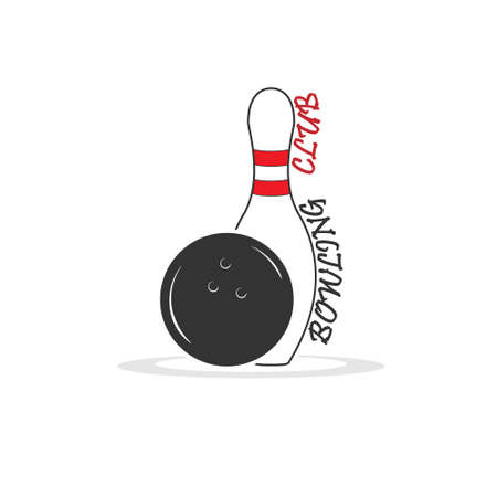 Bowling. Skittles and a ball. Icon, for logo, sticker, label, isolated on white background 向量圖像