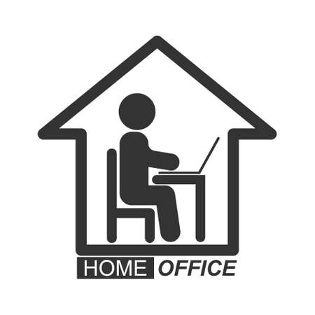 Home office icon, a stylized vector icon isolated on a white background