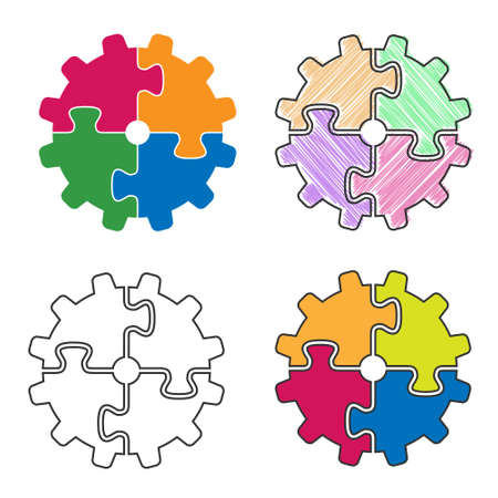Gear of the puzzle. A set of simple vector illustrations.