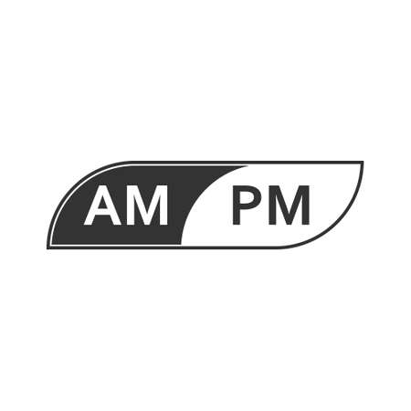 Stylized icon with abbreviation for hours before noon and after noon on the clock face, isolated on a white background