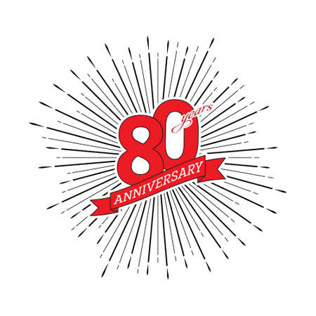 Congratulations on the 80 years anniversary. Editable vector illustration. The number 80 on the background of a salute with a congratulatory red ribbon 向量圖像