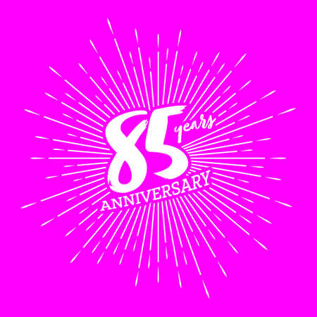 Congratulations on the 85 years anniversary. Editable vector illustration. Number 85 on the background of fireworks 向量圖像