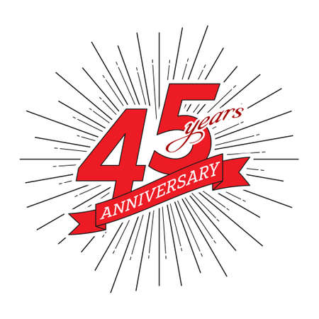 45th anniversary. Greeting inscription with salute and ribbon, vector illustration isolated on white background