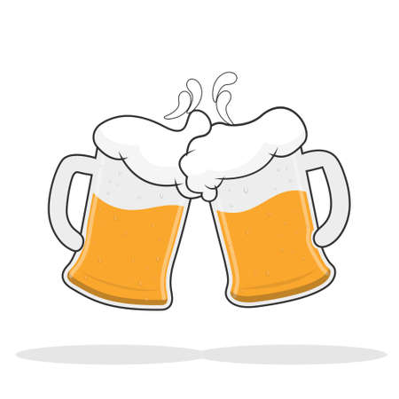 Two mugs of beer with foam. Vector illustration. Flat design.