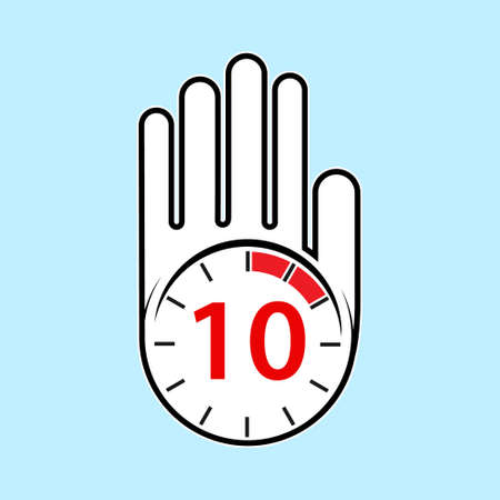 raised, open hand with a watch on it. Time for rest or break, pause. 10 minutes or seconds. Flat design. 向量圖像