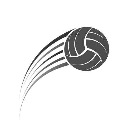 Volleyball ball in flight. Vector illustration for an icon, sticker, sticker or logo isolated on a white background
