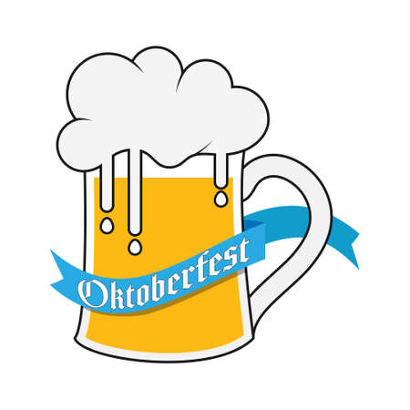 mug of beer with foam and a ribbon with the inscription Oktoberfest. Vector illustration. Flat design. 向量圖像