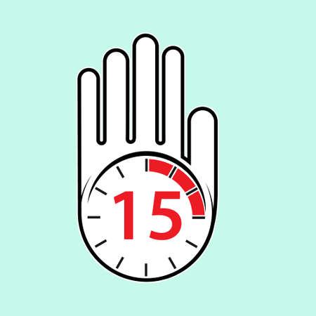 raised, open hand with a watch on it. Time for rest or break, pause. 15 minutes or seconds. Flat design.