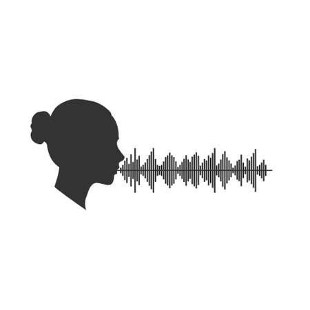 Voice range women. Silhouette of a female head voice range. Vector illustration for theme design isolated on white background