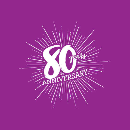 Congratulations on the 80 years anniversary. Editable vector illustration. Number 80 on the background of fireworks