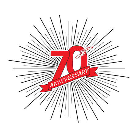 Congratulations on the 70 years anniversary. Editable vector illustration. The number 70 on the background of a salute with a congratulatory red ribbon