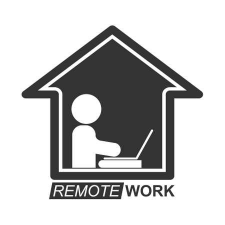 Remote work icon, a stylized vector icon isolated on a white background 向量圖像