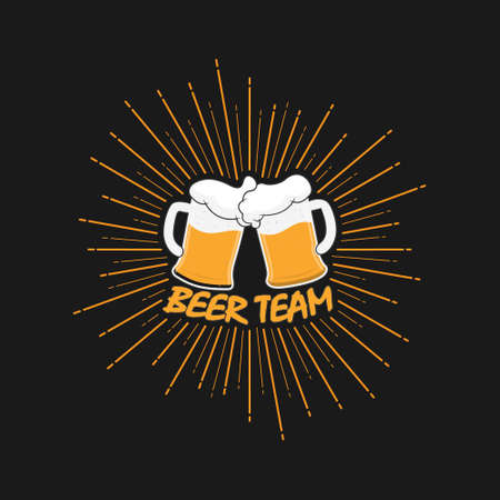 Two mugs of beer with foam on the background of a salute and the inscription beer team. Vector illustration. Flat design.