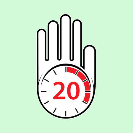 raised, open hand with a watch on it. Time for rest or break, pause. 20 minutes or seconds. Flat design.