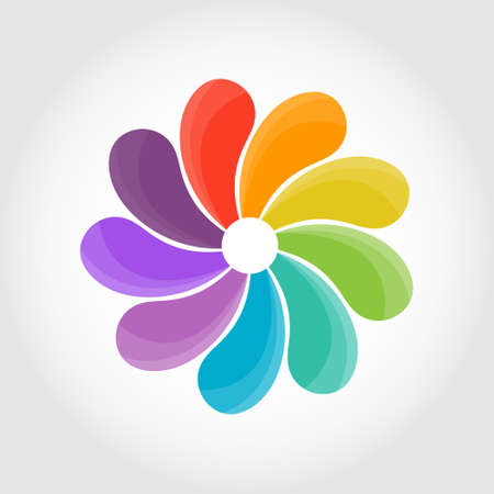 flower with multicolored leaves. Creative vector illustration for infographics, banners, stickers or logos, isolated on a white background