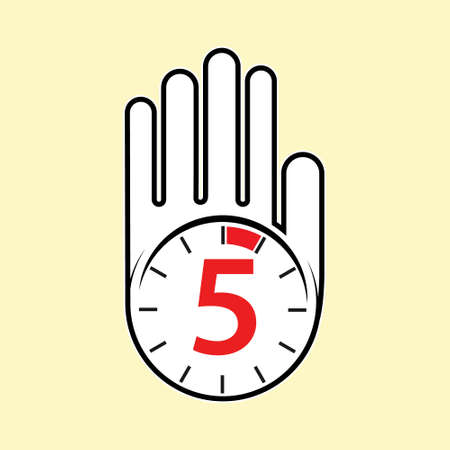 raised, open hand with a watch on it. Time for rest or break, pause. 5 minutes or seconds. Flat design.