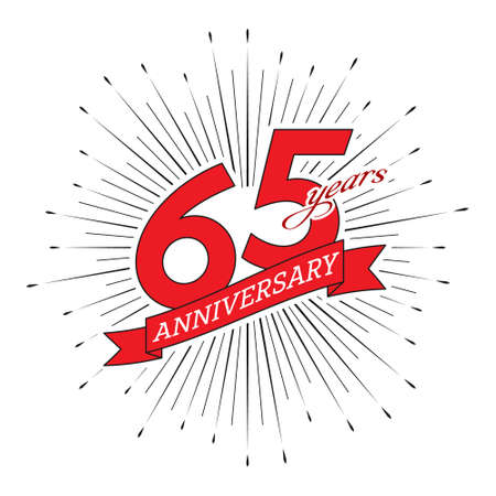 65th anniversary. Greeting inscription with salute and ribbon, vector illustration isolated on white background